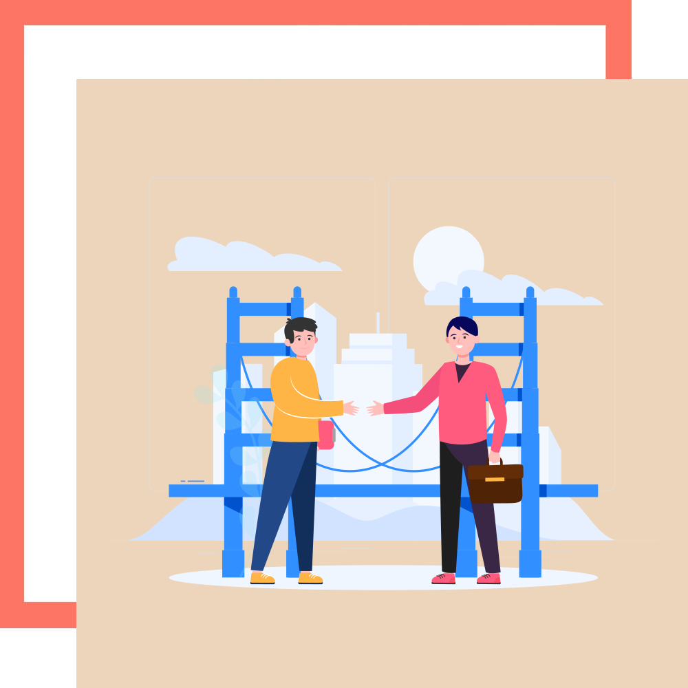 Graphic of legal moneylender in Singapore shaking hands with a loan applicant