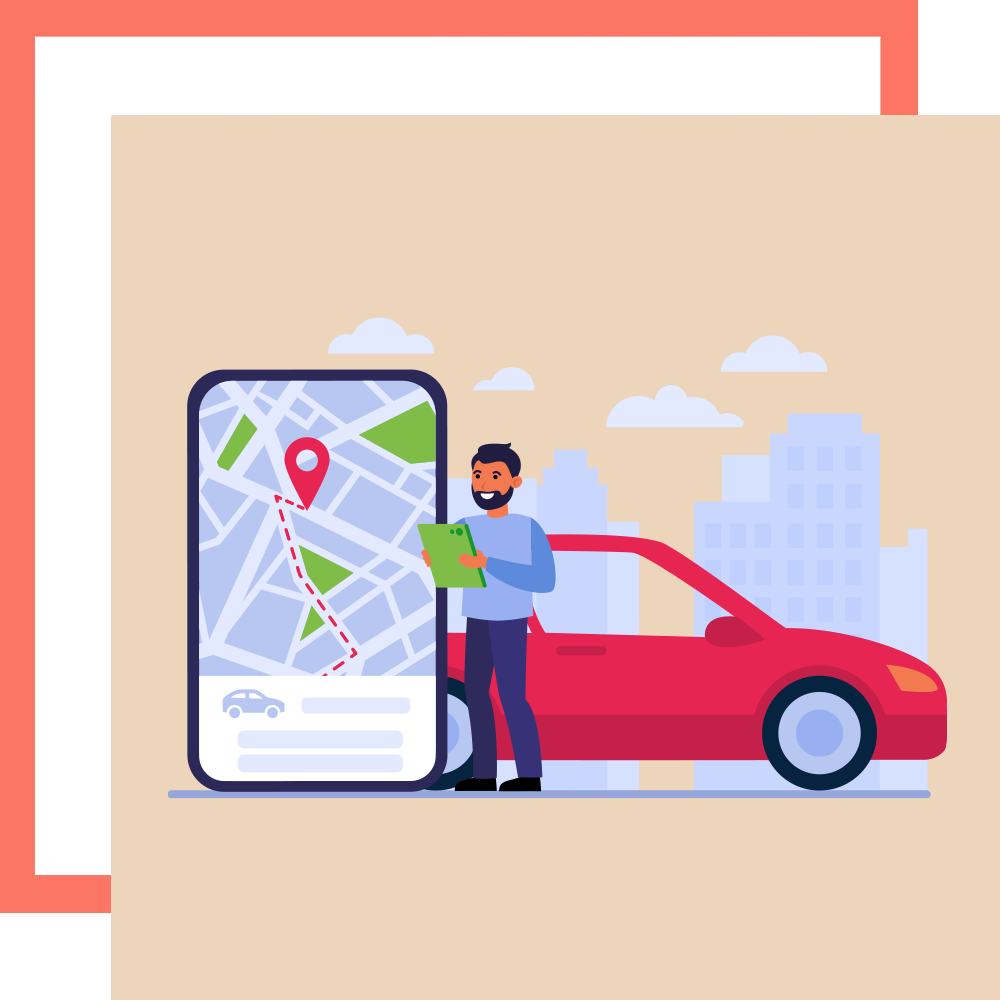 Graphic of man standing in front of Grab Gojek taxi looking at directions in Singapore