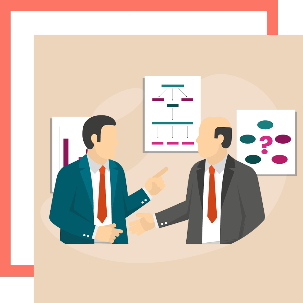 Graphic of two businessmen discussing a business loan from a legal money lender in Singapore