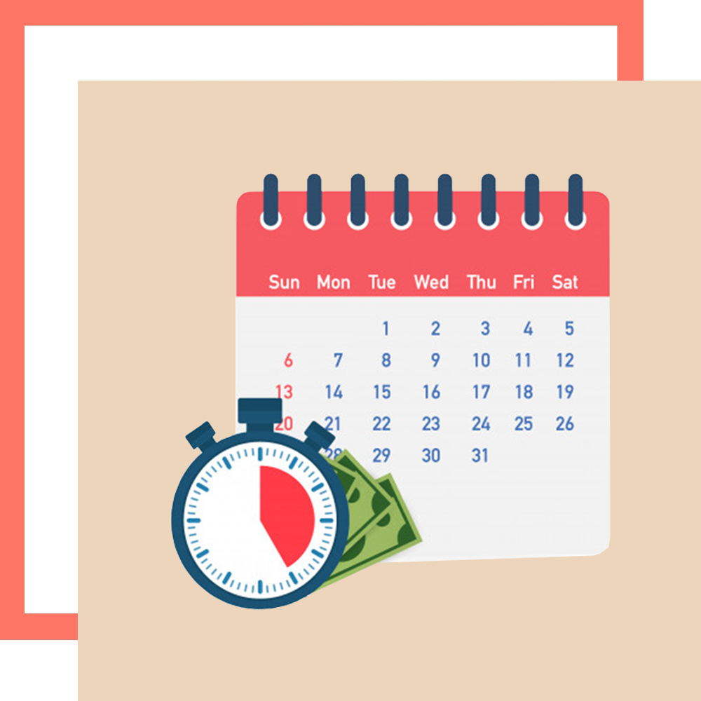 Graphic of a stopwatch, calendar and cash representing a payday loan in Singapore