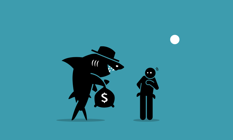 Illustration of a shark tempting a man who is thinking of borrow and lend.